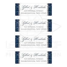 silver address label a wintry night wedding address labels navy white silver gray