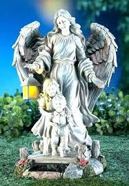 solar outdoor yard art powered garden statues guardian angel children figurine statue lawn ornament decor sol