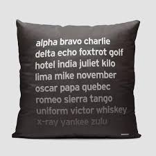 I am taking on, or discharging, or carrying dangerous goods. Throw Pillow Nato Phonetic Alphabet