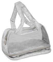 bagathon india silver and transpa makeup organizer bag