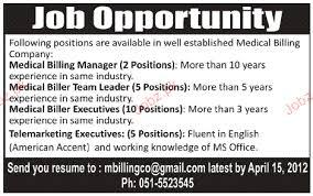 Medical Office Billing Manager Job Description Medical Billing Manager Medical Biller Executive Wanted