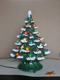Little Ceramic Tabletop Christmas Tree Retro Vintage Lightup TreeCeramic Tabletop Christmas Tree With Lights