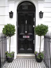 bay tree planters by front door