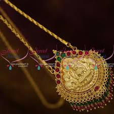 cs9220 kemp crystal drops gold plated south indian chain pendant temple jewellery