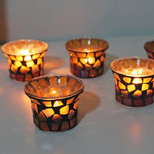 Fashion candle holder american style modern handmade glass mosaic candle  holder table wedding decoration holiday decoration