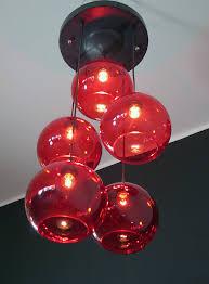 1970 s light red murano glass ball chandelier sconce