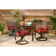 montclair 5 piece patio dining set in chili red with 4 swivel rockers and a 40 in square table mclrdn5pcsqsw4 chl