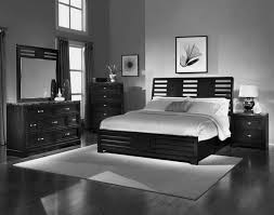 Grey Bedroom Wall Combined By Black Wooden Bed With White Bedding
