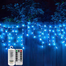 300 Blue Leds Twinkle Icicle Light String Set With Remote Control Fairy Strand Powered By 4aa Batteries Curtain Lights Garden Light For Seasonal