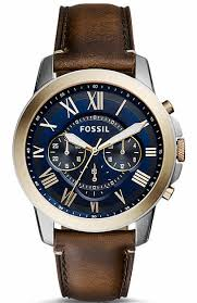 men s fossil grant chronograph blue dial watch fs5150