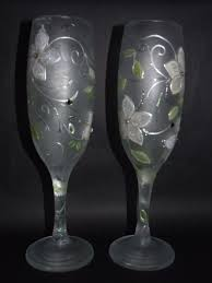 Frosted Hand Painted Wedding Glasses Artstudioofglass