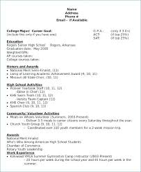 College Resume Format For High School Students. Academic Resume ...