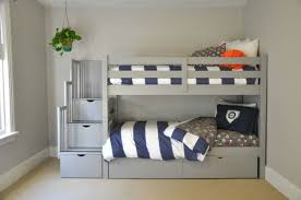 Gray Bunk Beds with Stairs, Storage Drawers, and Under Bed Storage Drawers:  Love