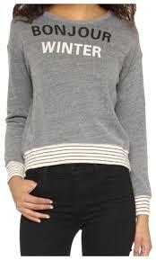Sundry Bonjour Winter Striped Grey Sweater 57 Off Retail
