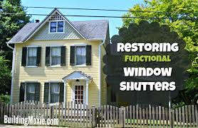 refinishing hanging functional exterior wood window shutters