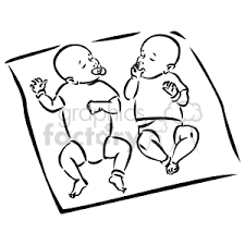 blanket clipart black and white. black and white twin babies laying on a blanket clipart h