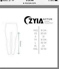 Zyia Sizing Inseam Guide For Leggings In 2019 Chart