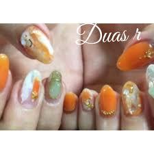 美色ネイルオレンジ系 Duas Rデュアスアールのネイルデザイン