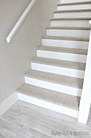 stairs with carpet herringbone treads and painted white risers looks like a runner benjamin