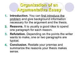 argumentative essay organization of an argumentative essay