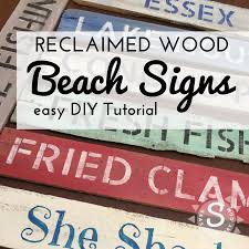 diy reclaimed wood painted beach sign