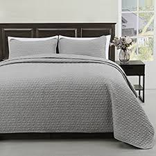 Amazon.com: Madison Full/Queen Size Bed 3pc Quilted Bedspread ... & Madison Full/Queen Size Bed 3pc Quilted Bedspread Light Grey Color Bed  Cover Set, Adamdwight.com