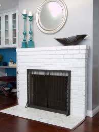 white tile fireplace