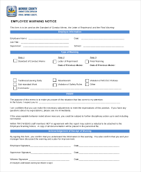 free employee warning forms free printable employee warning notice business mentor