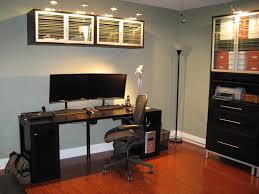 office and workspace captivating black ikea computer desk ideas with two mounted monitor and black sophisticated blue home office dark wood