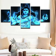 modern frames for paintings canvas 5 panel india tibetan shiva painting cuadros home decoration mahesvara