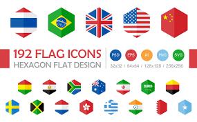 Ctrla Studio 185 World Flags Hexagon Design