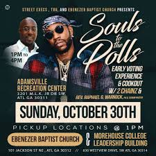historic ebenezer baptist church pastor rev dr raphael warnock rapper 2 chainz partner for souls to the polls today