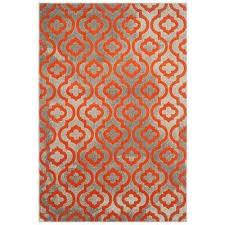 porcello light gray orange 6 ft x 9 ft area rug