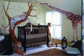 fluffy brown area rug and amazing safari baby bedroom design idea plus stuffed toys decor also black wooden crib