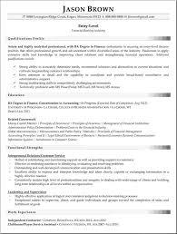 Entry Level Fi Entry Level Finance Resume New Sample Resume Resume