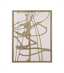 white canvas gold framed wall art