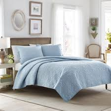 laura ashley felicity breeze 3 piece blue full queen quilt set