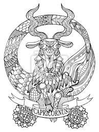 Plakát Kozoroh Znamení Zvěrokruhu Omalovánky Vektor