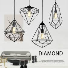 vintage e27 iron net pendant lights lamp industrial loft wrought diamond shape bird cage lampshade hanging lighting fixtures glass pendant lamp hanging