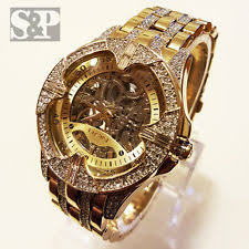 elgin mens gold watch elgin iced out mens skeleton automatic gold plated luxury crystal wrist watch