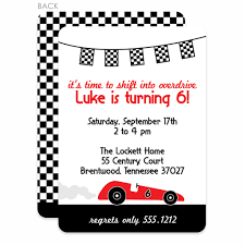 Car Birthday Invitations Race Car Party Birthday Invitation Red Printed