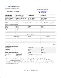 Deposit Templates Car Deposit Receipt For Excel Word Excel Templates