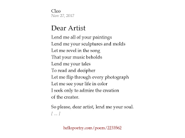 Dear Artist By Cleo Hello Poetry