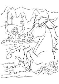 Kleurplaat De Ruiter En Het Paard Zwemmen Lekker In De Rivier Wat