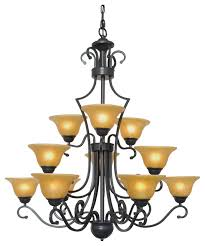 wrought iron chandelier country french 12 light pendant lamp glass shades foyer