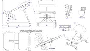 chair design drawing. Metal Kneeling Chair - Assembly Drawing Design