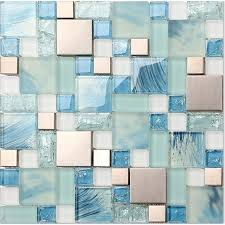 le glass backsplash tile 304 stainless steel metal tiles blue hand painted frosted glass mosaic wall