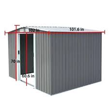 8x8 metal shed feet outdoor steel metal garden storage shed tool house w sliding door 1