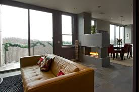 Modern Condo Living Room Design Fireplace As A Dividing Wall Living Spaces Pinterest