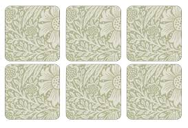 morris and co for pimpernel marigold green coasters set of 6